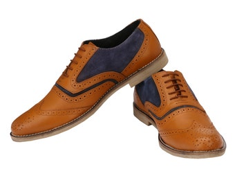 Mens Oxford Wingtip Tan/Blue Brogues | Jacksin Shoes