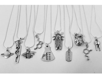 Silver science/nature/anatomy/space/insects/chemistry/Thor/dinosaur pendant necklaces