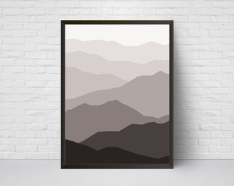 Abstract Wall Art, Mid Century Mountain Print, Geometrical Modern Large Wall Art, Minimalist Poster, Room Decor, Black White Grey