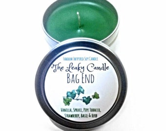 Bag End -- Lord of the Rings inspired soy candle -- 4oz metal tin