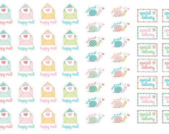 Happy Mail Stickers (planner stickers)