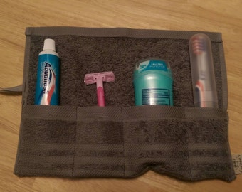 Travel Toiletry Roll Gray, Travel Toothbrush Roll,  Gym Bag Roll,  Toothbrush Holder,  Camping,  Overnight,  Make Up Brush Roll