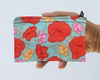 Coin Purse Floral Zipper Pouch - Flowers Coin Purse - Gadget Case Padded
