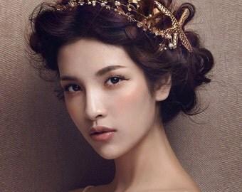 Gold Seastar Crown, Bridal floral crown, Beautiful wedding crown, Wedding flower crown, Boho wedding, Headpiece