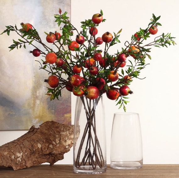 6pc red pomegranate head realistic artificial by pebblefield for Artificial pomegranate decoration