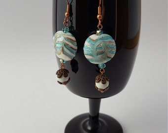 16005E  Lamp Work, Agate and Czech Crystal Earrings