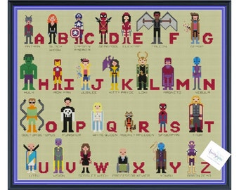 Marvel Superhero Alphabet Comic Book Cross Stitch DIGITAL PDF (pattern only) Inspired by Avengers, X-men, SpiderMan, Guardians of the Galaxy