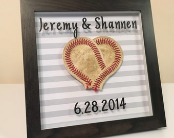 Heart Shaped Baseball Wedding Anniversary Frame Gift-Periods for date