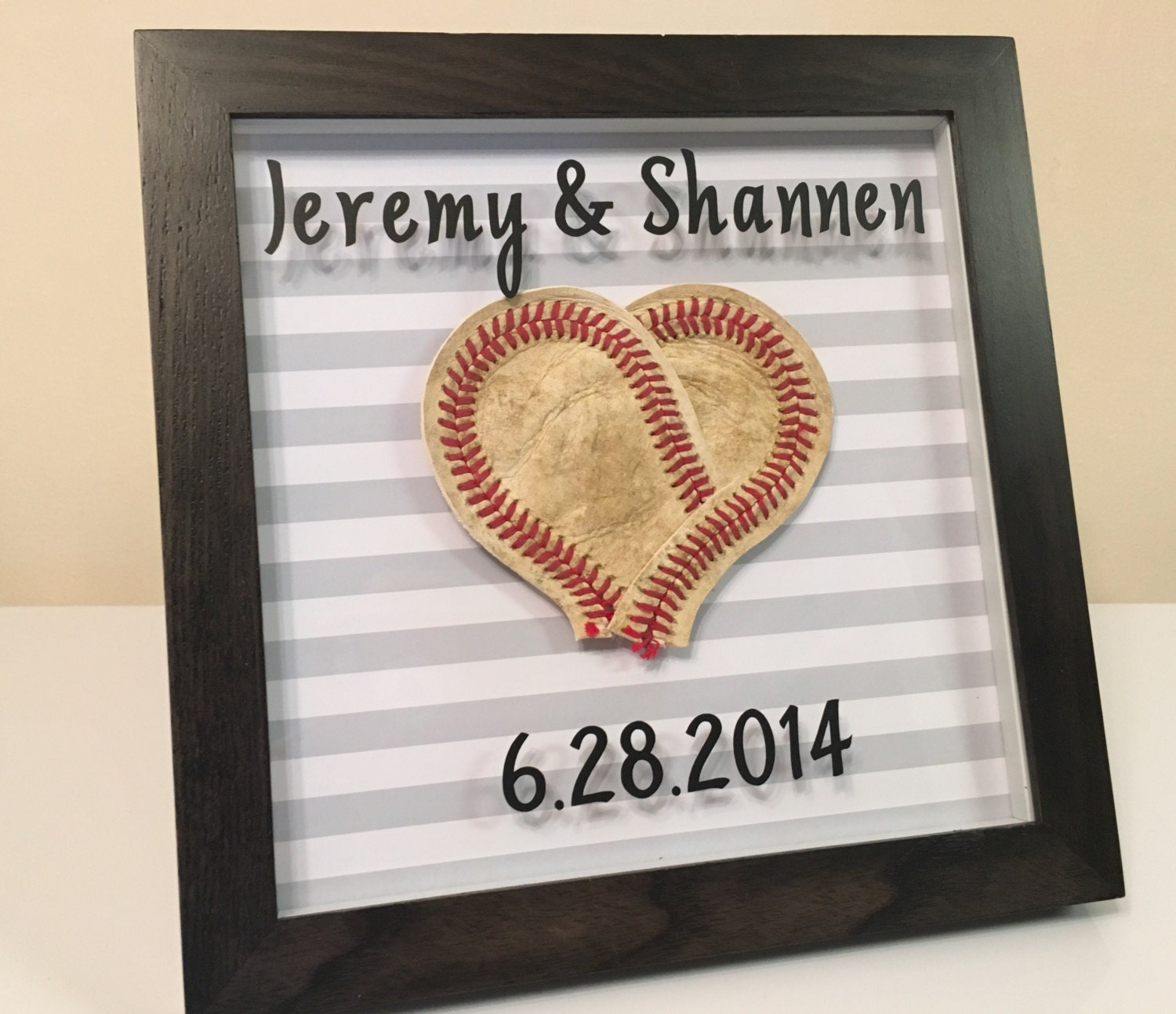 Baseball Wedding Gifts: Heart Shaped Baseball Wedding Anniversary Frame Gift-Periods