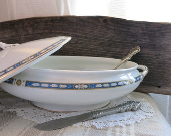 Antique Dish Vintage China Vegetable Server Made by Mercer Cottage Shabby Style