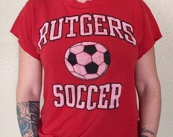 Rutgers Soccer Vintage T-Shirt VTG New Jersey 1990