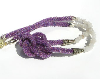 Purple beaded rope necklace with quartz stone beads - Knot necklace - Beaded crochet rope necklace - Seed bead jewelry - Rope necklace