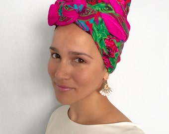 The Rose, Floral Printed Scarf, Head Covering, Headwrap, Mitpachat, hair accessory, Mitpachat, Modest, Headband, Headscarf, headscarves, mod