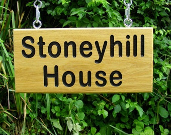 Personalised Engraved Wooden House Name sign with Hanging Kit/Oak Address Sign