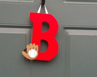 Decorative letter B with a baseball glove