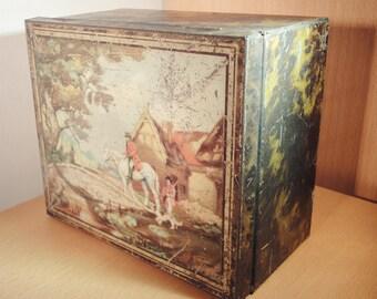 Vintage Tin Box - Victorian Hunting and Shooting Scene