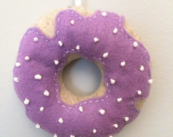 Donut Christmas Ornament - Earl Grey Donut with Lavender Icing and Sugar Pearls