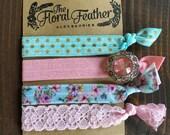 Elastic Hair Ties - Elastic Bracelets - Floral - Mint Pink Aqua - Lace - Girly - Pink Rhinestone - Floral Hair Ties - Lace Hair Ties