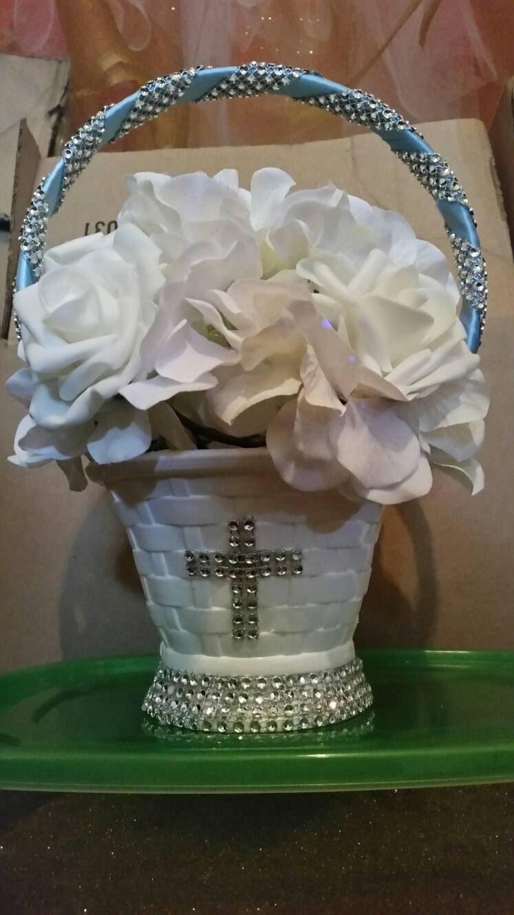 Baptism centerpiece boy girl hydrangea foam roses