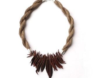 Linen necklace Bohemian necklace Natural Linen necklace Leather Necklace natural linen art gift linen thread Bib necklace linen