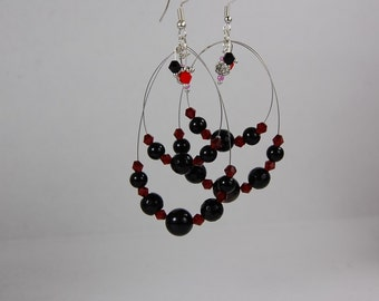 Black agate dangled earrings