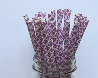 Paper Straws, Purple Damask Paper Straws, Damask Straws, Purple Damask Straws, Party Straws, Purple theme, Wedding Buffet, Birthday, 10