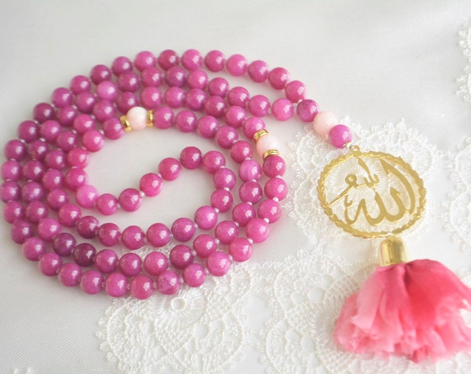 Allah purple jade golden tespih, ruby color beads, silk sibha, misbaha, eid dikr beads 99 count doa sibha, Misbaha, Tesbih, Tasbih, 99 asma