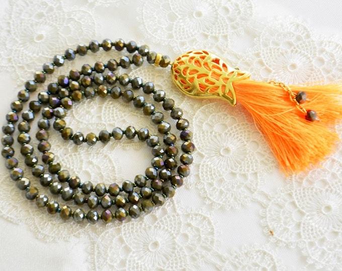 islamic rosary, orange tassel, tulip pendant, 99 doa necklace, haffaza, meditation, creed, religion, believe, faith, devout, koran, moque