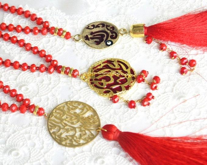 allah muhammed golden glass rosary,nice crimson chain,pleasant pray necklace,muslim glass sibhah,monk tasbeeh, well shape tesbih