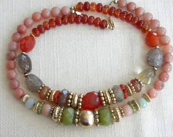 lot 2x LARGE heavy necklaces NATURAL stones carnelian quartz other  - inA1489