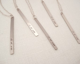 Personalized Vertical Bar Necklace...engraved name plate w/ Gold filled, Rose gold filled or Sterling Silver bar, monogram, bridesmaid gift