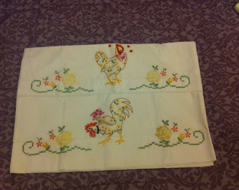 Hand embroidered pillow cases - 1 pr