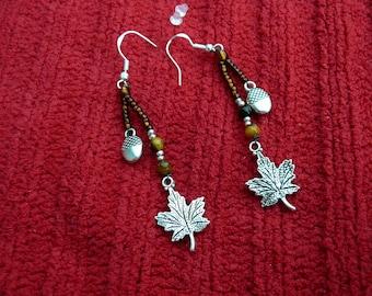 Autumn maple Leaf & Acorn Beaded Earrings