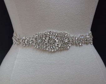 Crystal Rhinestone Applique - Wholesale Bridal Trim - Bridal Applique - Bridal Fabric - Rhinestone Trim TR48