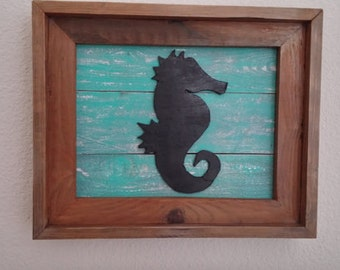 2 - Rustic Sea Horse Wall art (both facing each other)