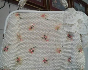 Pearl white beaded vintage clutch with pink floral accents