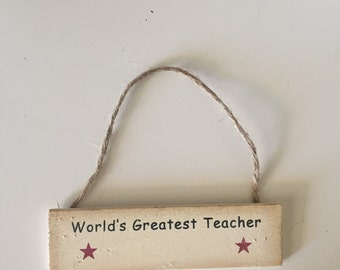 Mini World's Greatest Teacher Ornament, Personalized Teacher Ornament, Teacher Wood Ornament, Teacher Tag