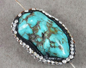 Blue Turquoise Howlite Pendant Bead Pave Rhinestones Jewelry Making Supplies Findings (ID GEO-56)