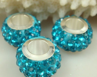 Set of 3 Silver and Blue Rhinestone Crystals Charm Beads 14mm European Style Charm Bracelet Jewelry Making Supplies DIY (ID EUCr)