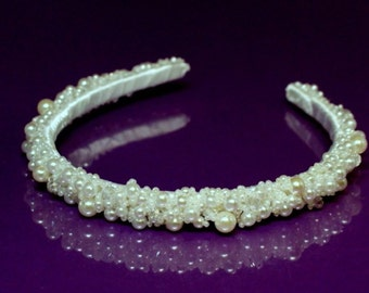 Pearl crystal crown Bridal Tiara, Crystal Heart Tiara, Bridal Tiara, Crystal Wedding Crown, Wedding Tiara, Bridesmaid crown