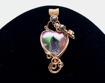 Gold Filled Wire Wrapped Titanium Window Druzy Love Lock Heart & Movable Key Pendant