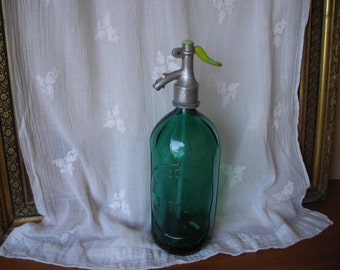 Vintage soda siphon.  Green glass siphon from the 1930's.