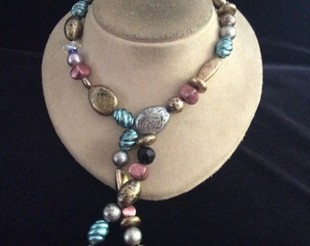 Vintage Chunky Long Colorful Beaded Necklace