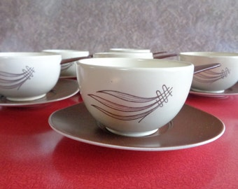 Vintage Mid Century Carltonware Windswept pattern pan handled soup bowls with saucers. Set of 6. Kitchenalia