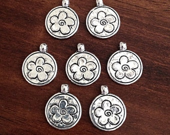10 Flower Charms, Antique Silver Charms, Daisy Charms, Double Sided Flower Charm, Findings, Jewelry and Craft Supplies