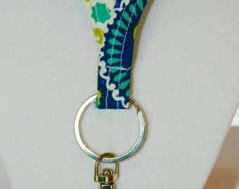 Blue, Green and Yellow Pattern Lanyard