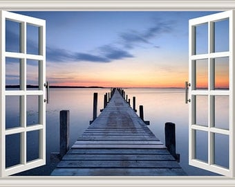 PS0831 Poster Print Window tranquil scene Jetty over blue SEA Landscape ART
