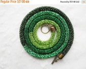 On Sale Ready To Ship. Green Bead Crochet Transformer Lariat, Long Crochet Rope Necklace, Beaded Rope, Bead Crochet Rope