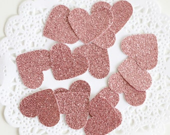 Blush Pink Glitter Confetti, Rose Gold Birthday, Choose your color,Heart Confetti, Pink Baby Shower, Baby Girl Gift, Bridal Shower