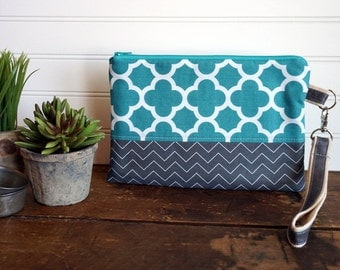 Clutch Bag - Teal and Gray Clutch with Removable Handle, Teal Zipper Clutch Bag